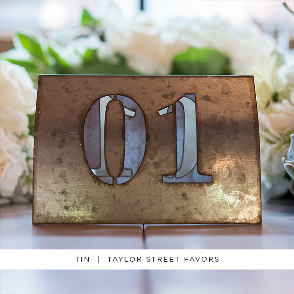 Laser Cut Self Standing Metal Table Number Set (Package of 6)