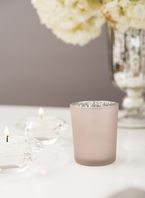 classic glass votive holder in silver