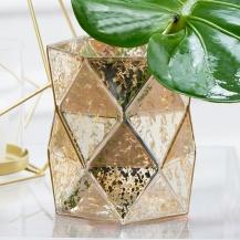 Gold Mercury Glass Hurricane Vase Or Candle Holder