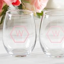 Personalized 9 Oz. Stemless Wine Glass - Hexagon