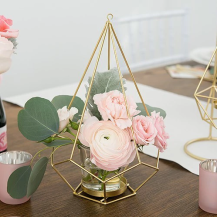 Gold Geometric Candle Or Flower Centerpiece (Set Of 2)