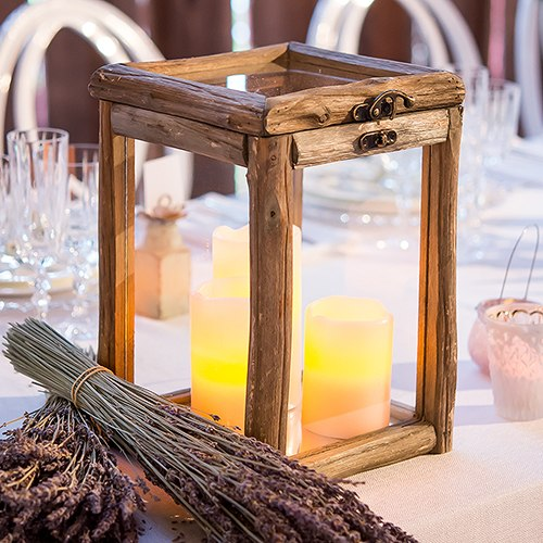 Rustic Wood and Glass Box with Hinged Lid & Lighted Candle