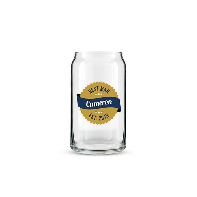 It's a can. It's a glass. It's a Personalized Beer Can Shaped Glass