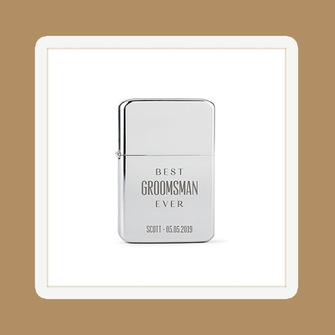 A striking gift for any Groomsman! Best Groomsman Ever Etching Silver Lighter.