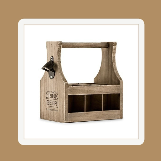 We are all in on Groomsmen Gifts with this Wood Beer Bottle Caddy With Opener